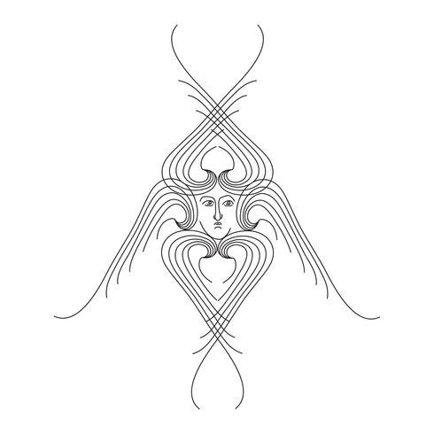 Engel. Hand getekend religieuze symbool. Aartsengel met vleugels pictogram