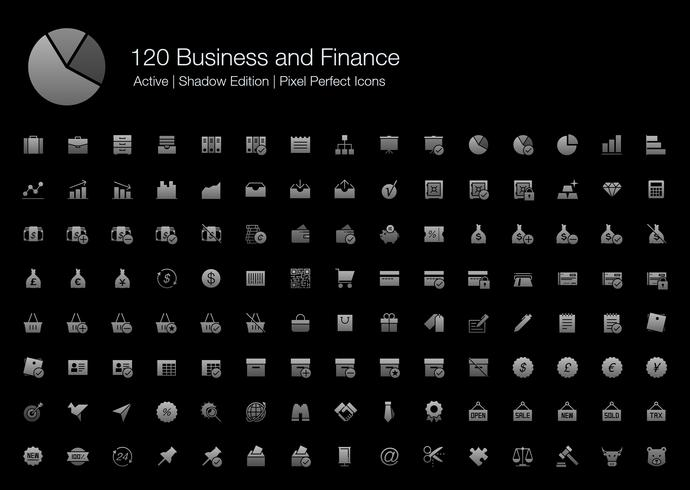 120 Affaires et finances Pixel Perfect Icons (Filled Style Shadow Edition).