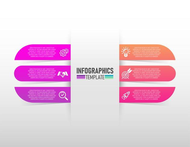 Infografía de diseño de vectores e iconos de marketing con 6 pasos de vectores.