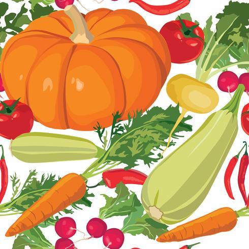 Patrón de verduras. Fondo inconsútil de la cosecha del jardín. vector