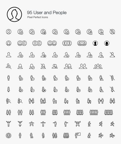 95 User and People Pixel Perfect Icons Line Style.  vector