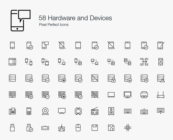58 Hardware and Devices Pixel Perfect Icons (line style) vector