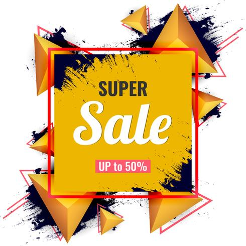 Abstract super sale on modern 3d triangles and ink splash background. vector