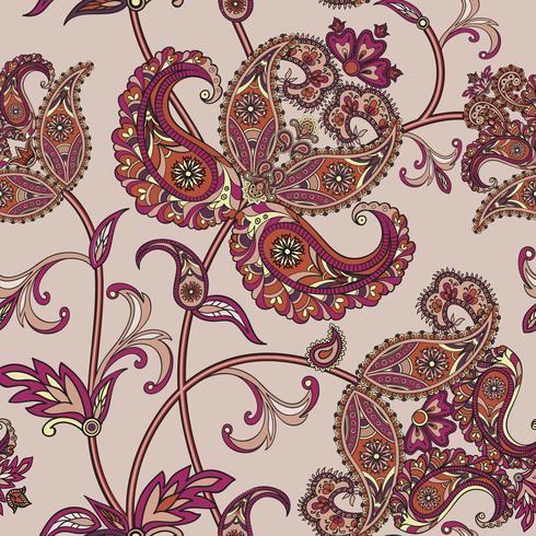 Fondo floral sin fisuras Adorno oriental. Patrón de flores. vector