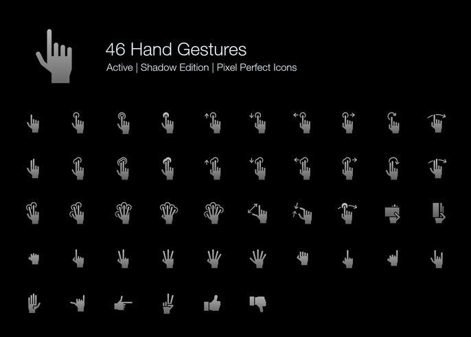 46 Gestos de Mãos e Ações com Dedos Pixel Perfect Icons (Edição de Sombra de Estilo preenchido).