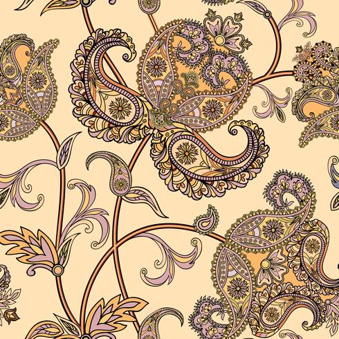 Floral seamless background. Oriental ornament. Flower pattern. vector