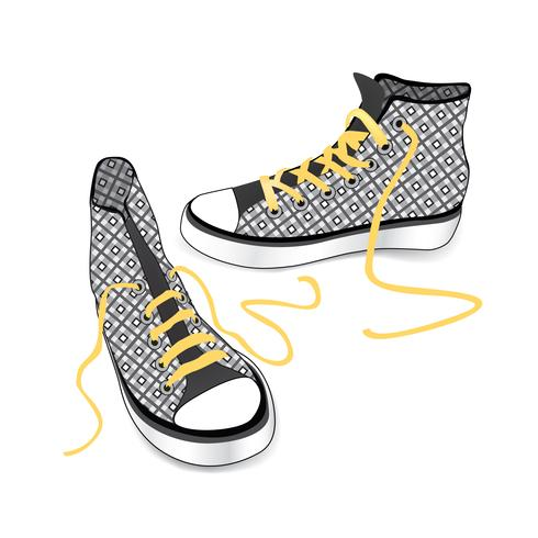 Sneakers isolated. Patterned fabric fashion sport shoes