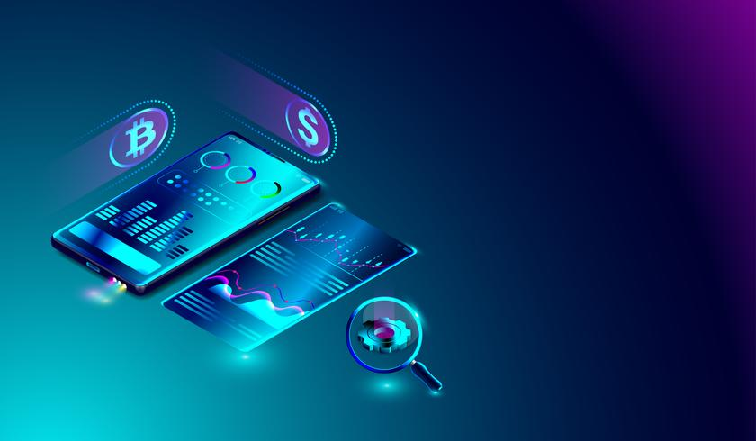 Data analys system på smartphone, bitcoin gruvdrift, marknadsföring, ekonomisk statistik analys med diagram på skärmen.