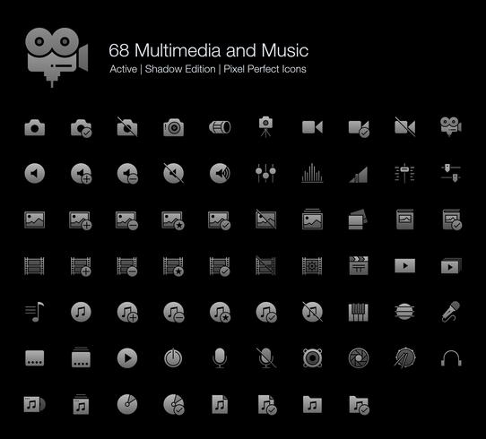 68 Multimedia e musica Pixel Perfect Icons (Filled Style Shadow Edition).