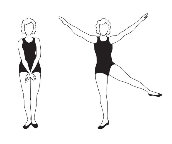 Elegant women silhouettes doing fitness exercises. Fitness club icon set,