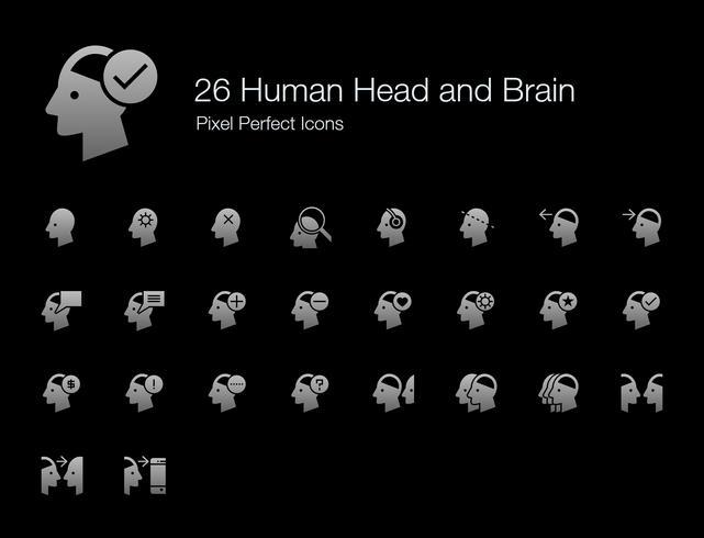 26 Pictogrammen voor menselijke hoofd- en breinpixels (versie met gevulde stijlschaduw).