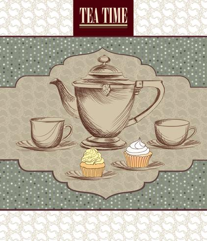 Tea cup, kettle retro card. Tea time vintage background. Hot drinks