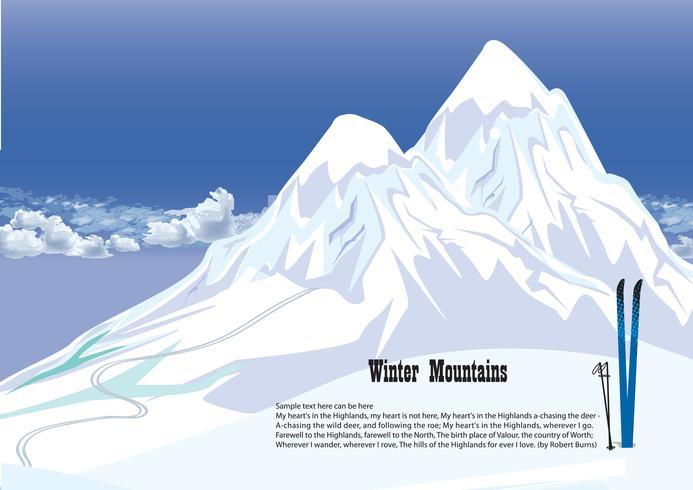Paesaggio invernale montagne innevate. Sfondo skyline di montagne vettore