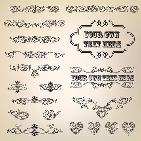 Elemento floral caligráfico. Bordes de viñeta de decoración de página, juego de separadores.