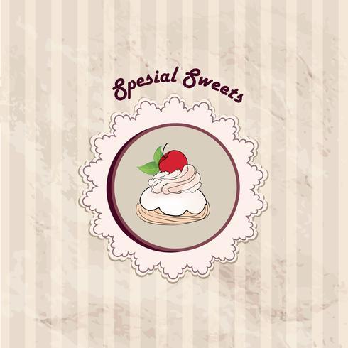 Cake. Cafe Menu Background. Bakery Label. Sweet, Dessert Poster vector
