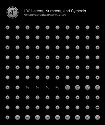 100 lettres, chiffres et symboles Pixel Perfect Icons (Filled Style Shadow Edition).