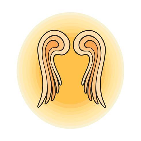 Alas. Ilustración de vector de contorno de signo de ángel