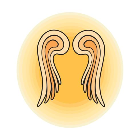 Wings. Angel sign outline vector illustration