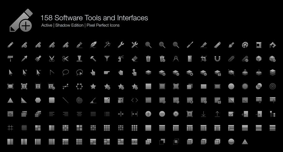 158 Software Tools and Interfaces Pixel Perfect Icons (Filled Style Shadow Edition).