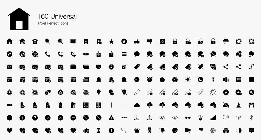 160 icônes universelles de pixels Web parfaits (style rempli). vecteur