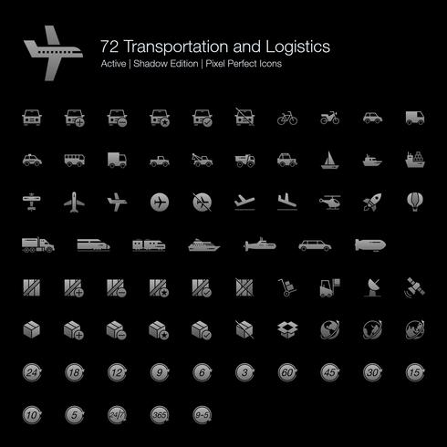 72 Transport en logistieke Pixel Perfect-pictogrammen (Filled Style Shadow Edition). vector