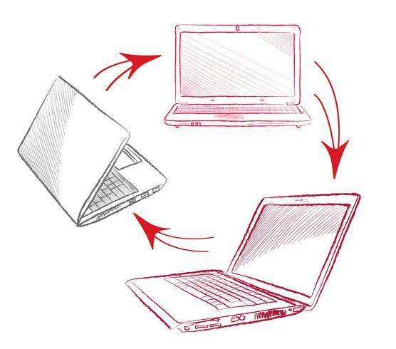 Laptop set Computers connection concept. Social collaboration sign vector