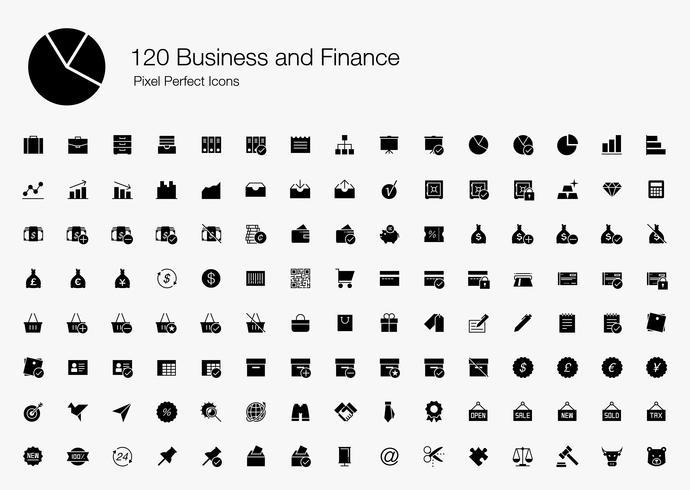 120 Pixel perfecte pictogrammen voor bedrijven en finance (gevulde stijl).