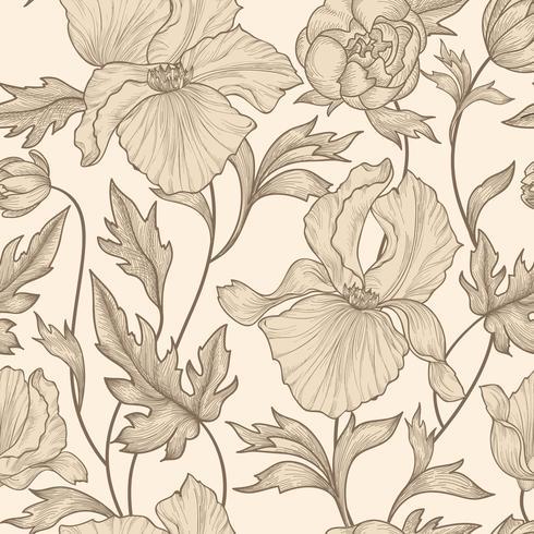 Blommigt sömlöst mönster. Blomma bakgrund. Vårens blomsträdgård