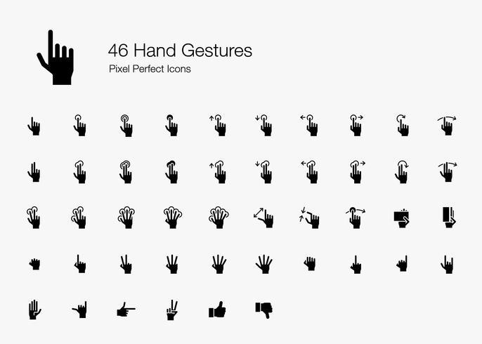 46 Gestos manuais e ações dos dedos Pixel Perfect Icons (Filled Style).