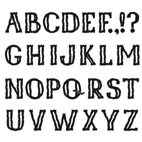 Alfabeto latino. Fonte decorativa de grunge linha. Conjunto de caracteres vetor