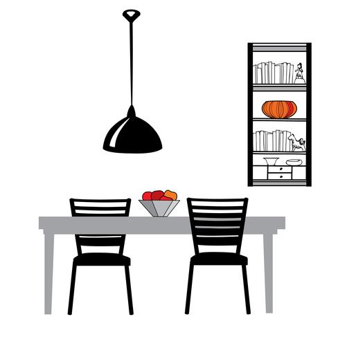 Set di mobili da cucina: tavolo, sedie, lampada, armadio. Sala da pranzo vettore