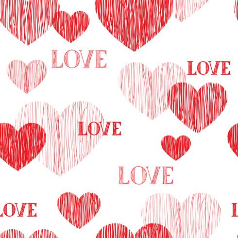 Love heart seamless pattern. Happy Valentines day background vector
