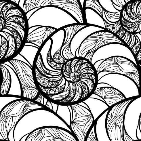 Resumen espiral de patrones sin fisuras. Onda nautilus fondo marino