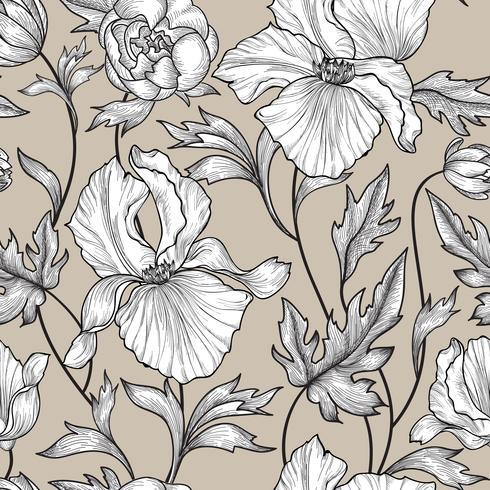 Floral seamless pattern. Flower background Engrave garden texture vector