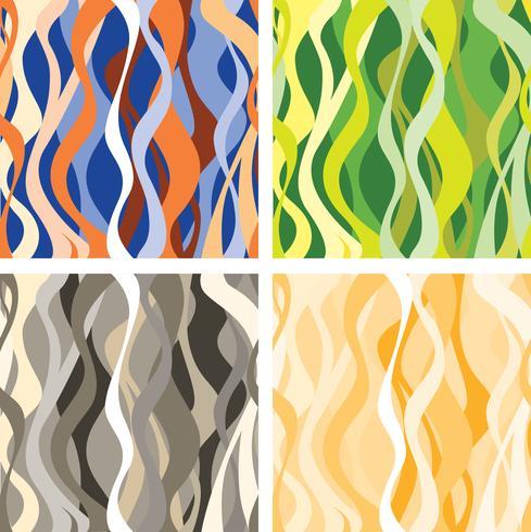 Conjunto de patrones sin fisuras de onda. Adornos florales ondulados abstractos. vector