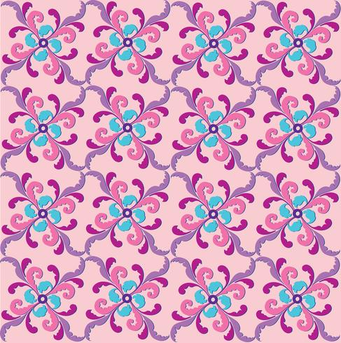 Oriental line pattern Abstract floral ornament Swirl fabric background vector