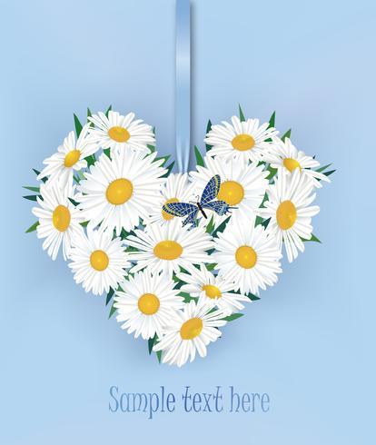 Bouquet de fleurs. Cadre coeur floral. Carte de voeux de l'été de s'épanouir.