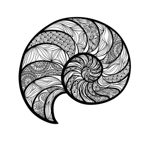 Seashell nautilus. Modello a spirale Fondo marino di nautilus dell'onda vettore