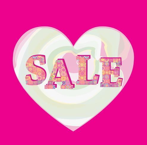 Banner de venta. La venta grande del verano firma encima el fondo rosado del corazón