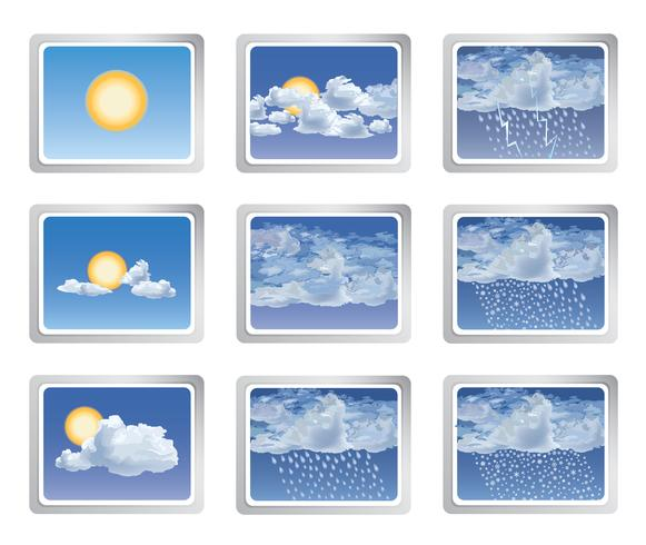 Weather report icon set. Sun with clouds buttons. Seasonal sign