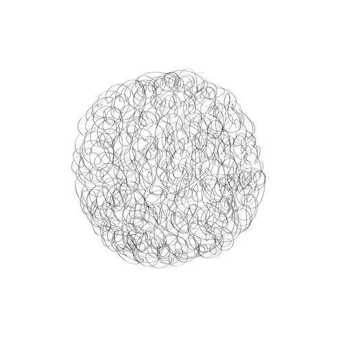Cirkel vector logo ontwerpelement. Chaotische lijn Krabbel wolk