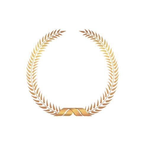 Cadre de récompense en or. Signe gagnant Couronne de Laurier isolée