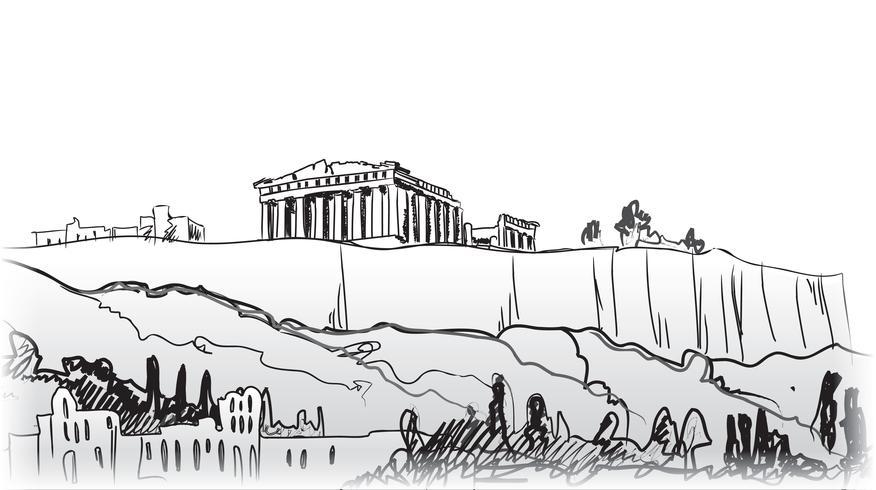 Antecedentes de viajes a Grecia. Edificio famoso de la señal de la ciudad de Atenas. vector