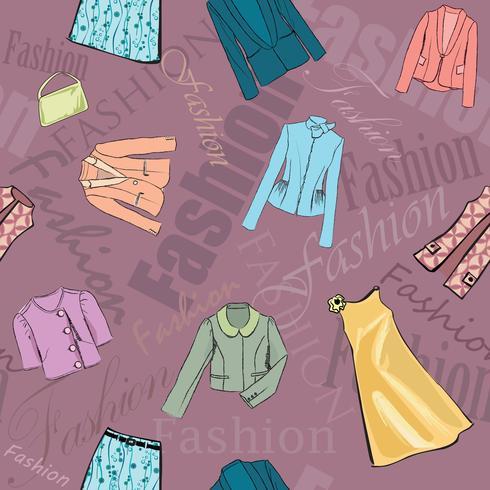 Mode tyg sömlös mönster. Retail kvinnor klänning försäljning bakgrund