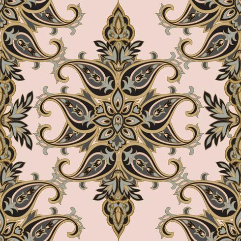 Motivo floreale Flourish piastrellato orientale etnica. Ornamento arabo con fantastici fiori e foglie. Motivi del paese delle meraviglie dei dipinti di antichi modelli di tessuti indiani.