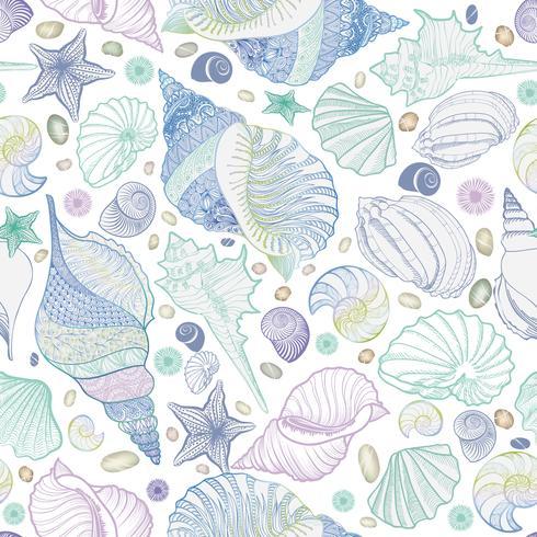 Seashell de patrones sin fisuras. Fondo marino de vacaciones de verano