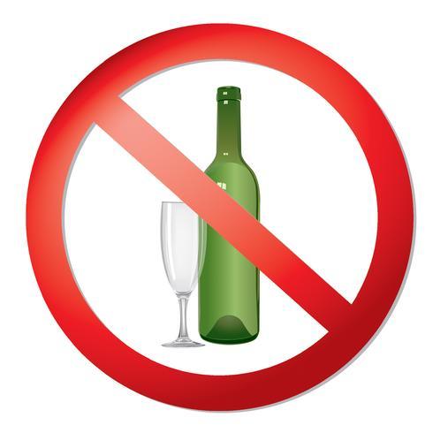 Kein Alkohol trinken Zeichen. Verbotssymbol. Ban Liquor-Etikett vektor