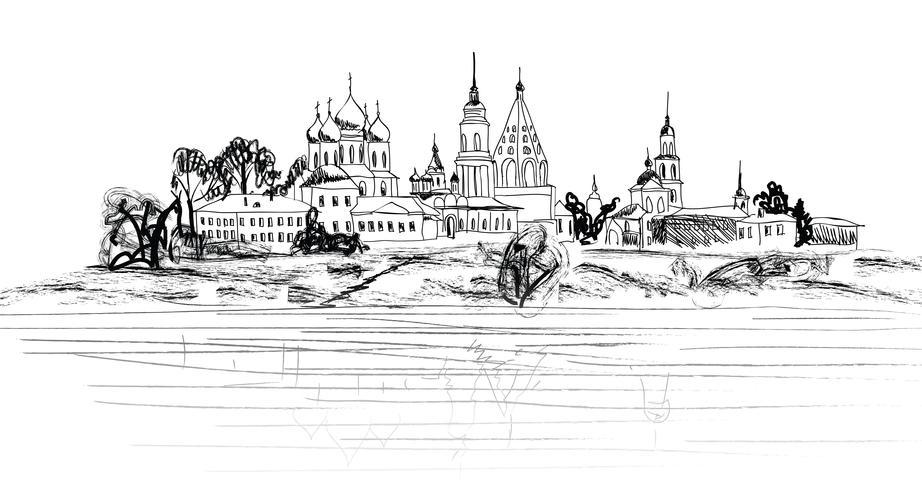 Paisagem da cidade velha russa. Arquitectura da cidade de Kolomna Kremlin. Vista turistica vetor
