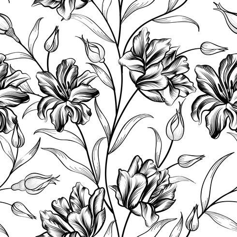 Fondo floral Patrón de flores. Flourish textura sin fisuras vector