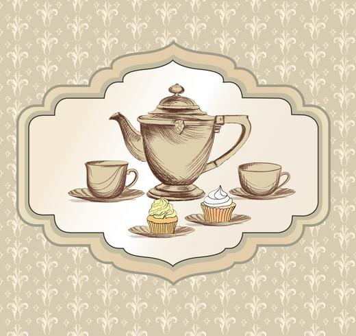 Tea cup, kettle retro card. Tea time vintage background. Hot drinks vector